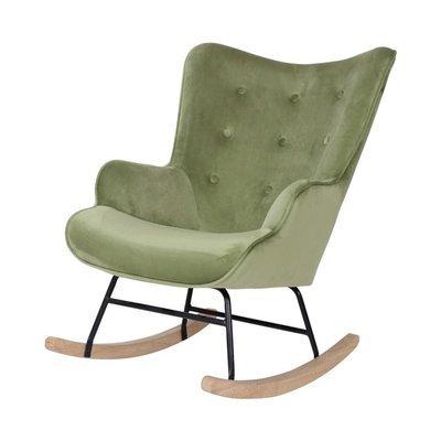 Fauteuil à bascule 68x92x100 cm en tissu velours vert clair - JOFFRY