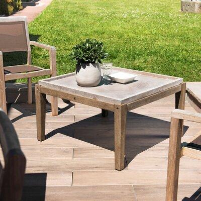 Table basse carrée 80 cm en béton et acacia - BETTY