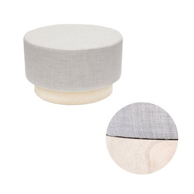 Pouf 60x60x35 cm en tissu gris clair - TIAGO