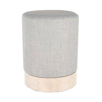 Pouf rond 30x40 cm en tissu gris clair et métal - TIAGO