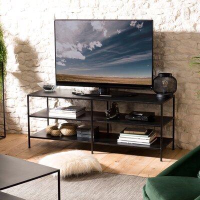 Meuble TV 2 étagères 140x45x56 cm en métal noir - PILEA