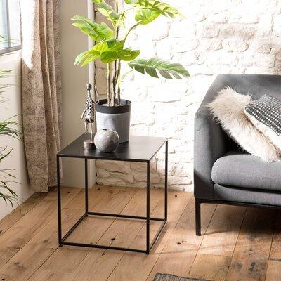 Bout de canapé carré 45x47 cm en métal noir - PILEA