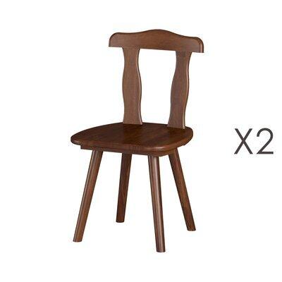 Lot de 2 chaises 46x47x82 cm en pin massif brun - CHAMONIX