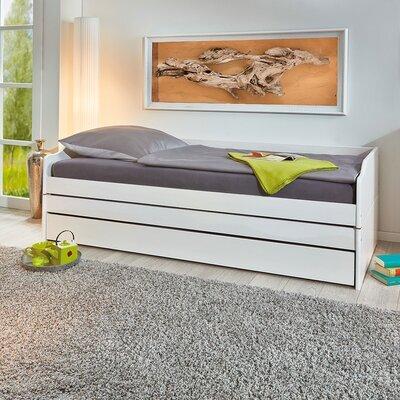Lit 90x190 cm avec 3 couchages en pin massif blanc - CHAMBERY