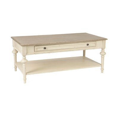 Table basse 1 tiroir en bois naturel et blanc - BERTILLE