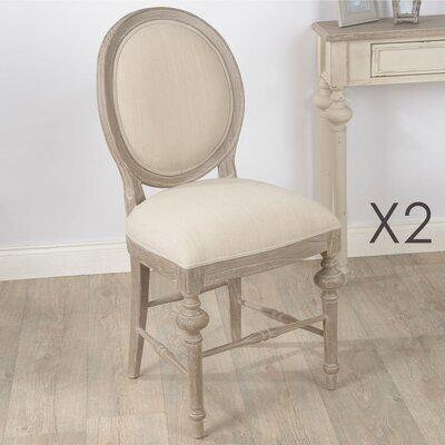 Lot de 2 chaises 50x53x96 cm en bois naturel et tissu - BERTILLE