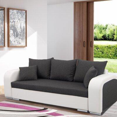 Canapé 3 places convertible en tissu gris foncé et PU blanc - FULLSPACE