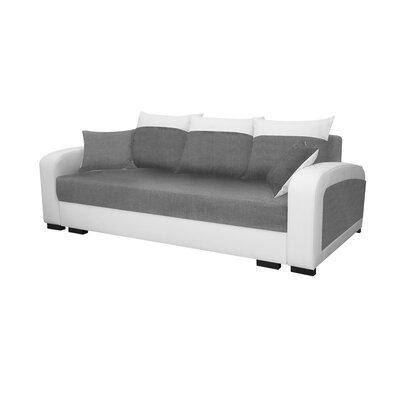 Canapé 3 places convertible en tissu gris clair et PU blanc - FULLSPACE