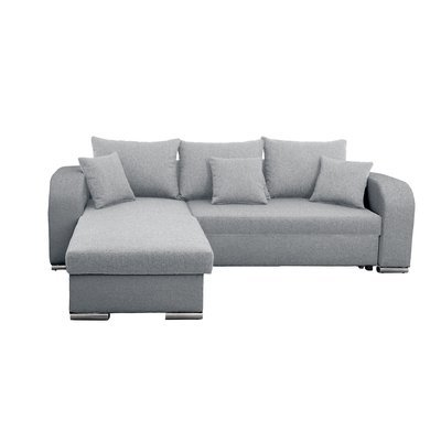 Canapé angle à gauche convertible en tissu gris clair - FULLSPACE