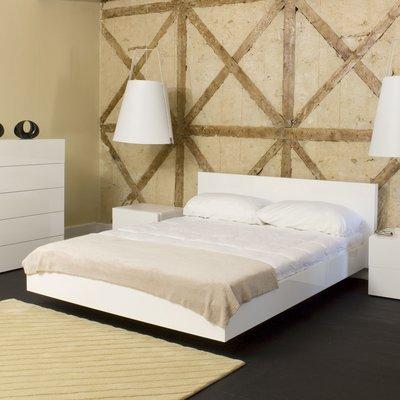 Lit 160x200 cm avec sommier décor blanc mat - WILDA