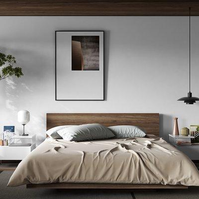 Lit 160x200 cm avec sommier décor noyer vernis - WILDA