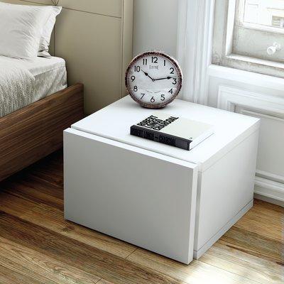 Chevet 1 tiroir décor blanc mat - WILDA