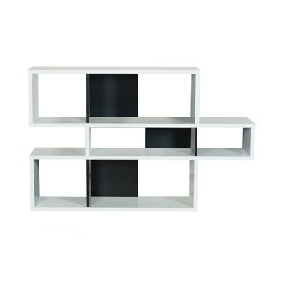 Etagère 156x34x100 cm décor blanc mat et noir - MATHIS