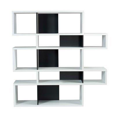 Etagère 156x34x160 cm décor blanc mat et noir - MATHIS