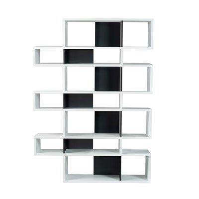 Etagère 156x34x220 cm décor blanc mat et noir - MATHIS