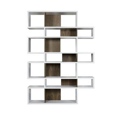 Etagère 156x34x220 cm décor blanc mat et noyer - MATHIS