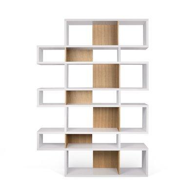 Etagère 156x34x220 cm décor blanc mat et chêne - MATHIS