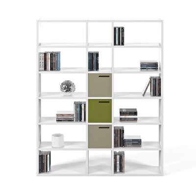 Etagère 182x34x224 cm décor blanc mat - VICTOR