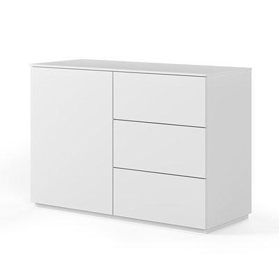 Buffet 1 porte et 3 tiroirs blanc mat