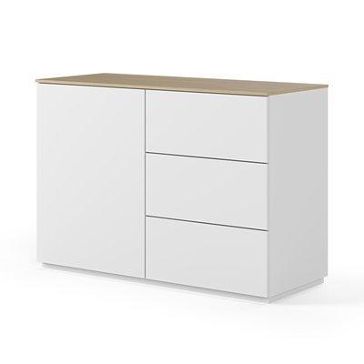 Buffet 1 porte et 3 tiroirs blanc plateau chêne