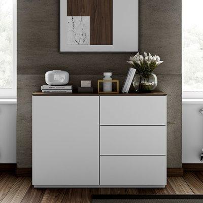 Buffet 1 porte et 3 tiroirs blanc plateau noyer