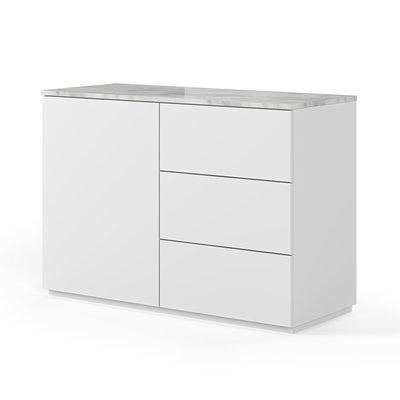 Buffet 1 porte et 3 tiroirs blanc plateau marbre blanc