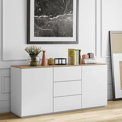 Buffet 2 portes et 3 tiroirs blanc plateau chêne
