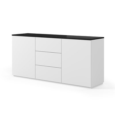 Buffet 2 portes et 3 tiroirs blanc plateau marbre noir