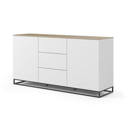 Buffet 2 portes et 3 tiroirs blanc plateau chêne pieds noirs