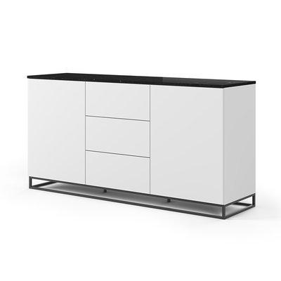Buffet 2 portes et 3 tiroirs blanc plateau marbre noir pieds noirs