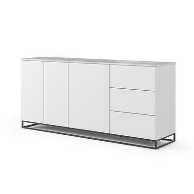 Buffet 3 portes et 3 tiroirs blanc plateau marbre blanc pieds noirs