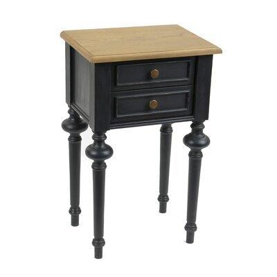 Chevet 2 tiroirs en bois naturel et noir - BELMON