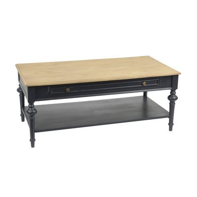 Table basse 120 cm en bois naturel et noir - BELMON