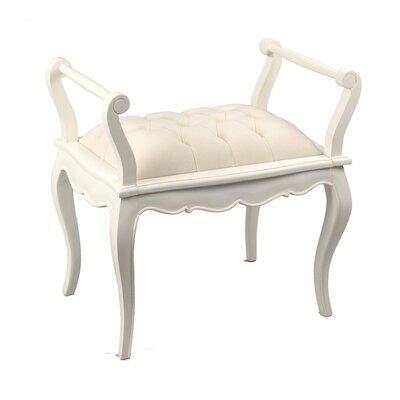 Banc 1 place en bois blanc et assise en tissu écru - CHARMY