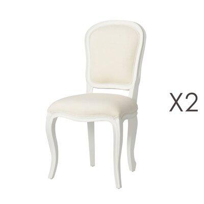 Lot de 2 chaises en bois blanc et assise en tissu écru - CHARMY