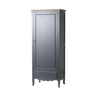 Bonnetière 1 porte et 1 tiroir en bois naturel et noir - CHARMY NOIR
