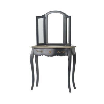 Coiffeuse 80 cm avec miroir en bois naturel et noir - CHARMY NOIR