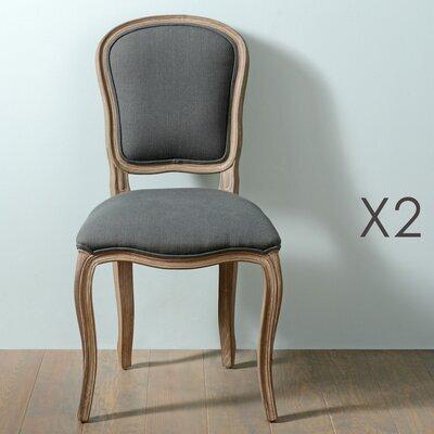 Lot de 2 chaises en bois naturel et tissu gris - CHARMY NOIR