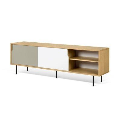 Buffet 2 portes 2 tiroirs chêne blanc gris et pieds métal - JELLY