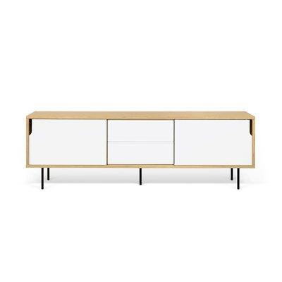 Buffet 2 portes 2 tiroirs chêne blanc et pieds métal - JELLY
