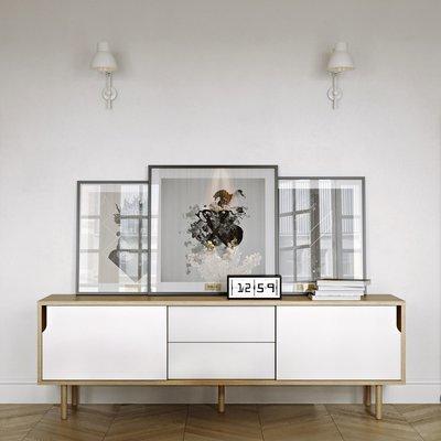Buffet 2 portes 2 tiroirs chêne blanc et pieds bois - JELLY