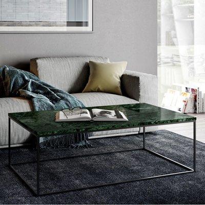 Table basse avec plateau en marbre vert et piètement chromé - LYDIA
