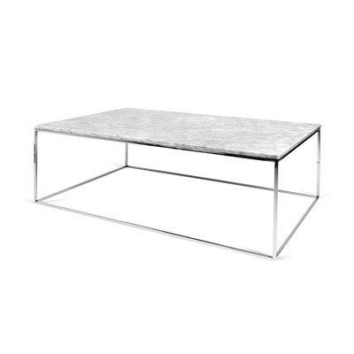 Table basse avec plateau en marbre blanc et piètement chromé - LYDIA