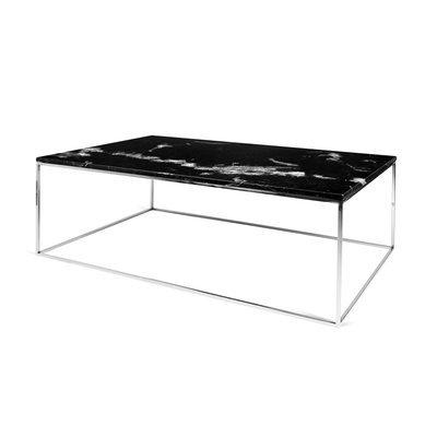 Table basse avec plateau en marbre noir et piètement chromé - LYDIA