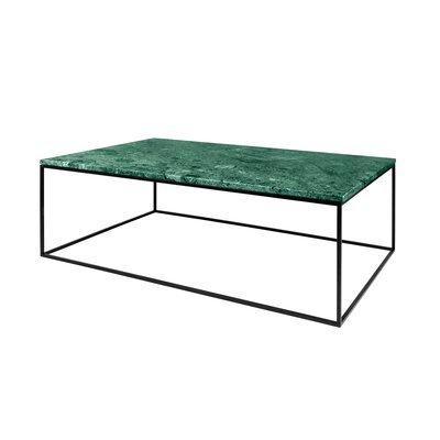 Table basse avec plateau en marbre vert et piètement noir - LYDIA