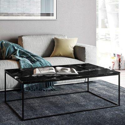 Table basse avec plateau en marbre noir et piètement noir - LYDIA