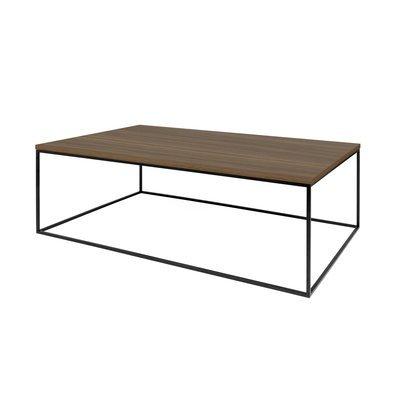 Table basse avec plateau décor noyer et piètement noir - LYDIA