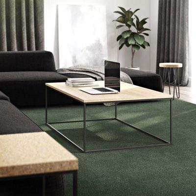 Table basse avec plateau décor chêne et piètement noir - LYDIA