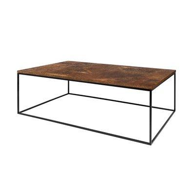 Table basse avec plateau aspect vieilli et piètement noir - LYDIA