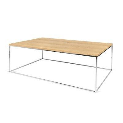 Table basse avec plateau décor chêne et piètement chromé - LYDIA